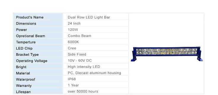 24 Inch 120W Dual Row Combo Beam Off Road LED Light Bar with 6000K for Jeep, Trucks - Yitamotor