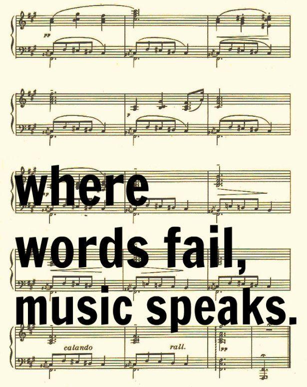 Where Words Fail Music Speaks, Hans Christian Andersen Quote, Sheet Music Art Print. $10.00, via Etsy.