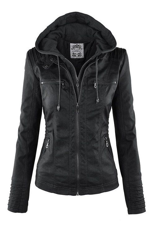 Solid Color PU Leather Convertible Collar Jacket