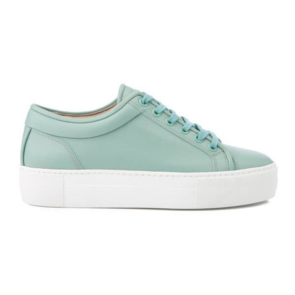 ETQ. Women's Low Top 1 Rubberized Leather Trainers - Mint Stacked (3.355 UYU) ❤ liked on Polyvore featuring shoes, sneakers, green, rubber sneakers, mint sneakers, leather trainers, green shoes and rubber shoes