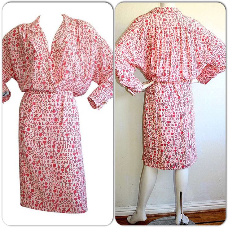1990s Vintage Chanel Dress / Pink Red Valentine's Day Love CC Logo w/ Gold Buttons / Silk Vintage Coco Chanel Shirt Dress Accordion Pleats by brentedwardvintage on Etsy https://www.etsy.com/listing/206314534/1990s-vintage-chanel-dress-pink-red