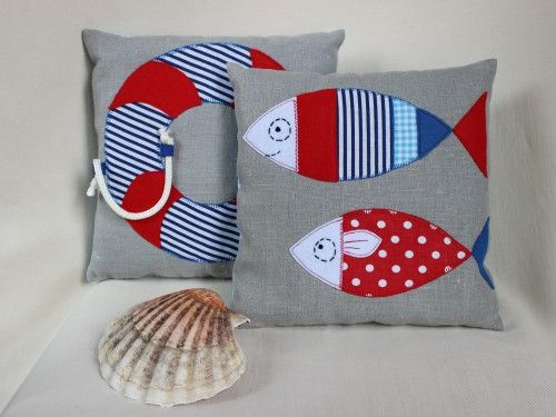 Popeline & co - Two marine pillow made in linen 25 x 25 cm. fish and buoy