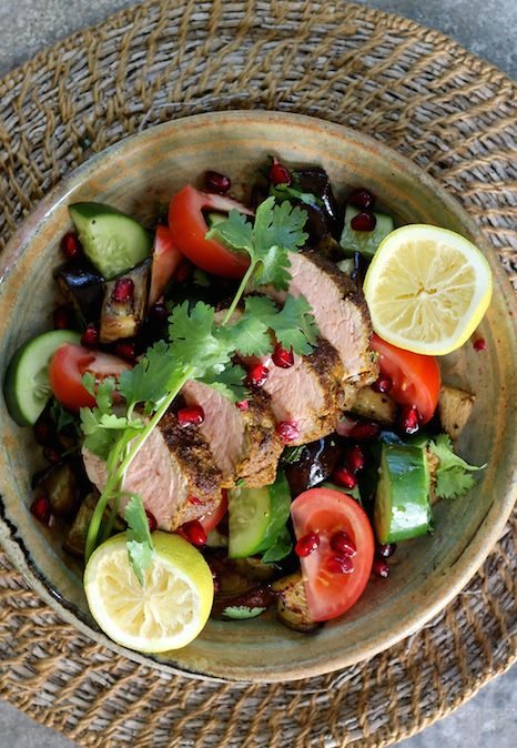 SPICED ROAST PORK WITH SMOKEY EGGPLANT & POMEGRANATE SALAD. This dish combines light indian spices with the richness of roast pork and a sweet, sour and smoky salad. The perfectly  balanced meal. Impress any night.   40 Minutes. Gluten Free. Only 378 Calories Per Serve.