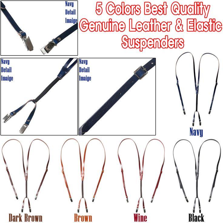 Genuine Leather Elastic Skinny Suspenders Cowhide 4-Clip-On Adjustable Braces #hellobincom