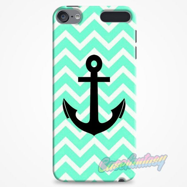 Aqua Chevron With Black Anchor iPod Touch 6 Case | casefantasy