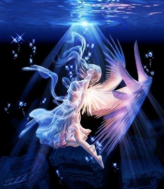 Angel floating in deep blue water.