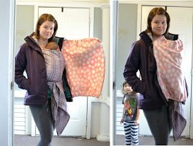 bird and goose: DIY Babywearing Coat Zip In Insert. Add an easy warm cover while wearing a carrier. Inexpensive DIY fleece baby cover