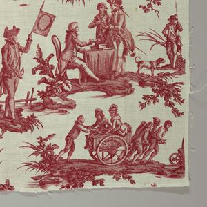 By Oberkampf et Cie ca. 1790-91. Length of printed cotton with scenes of Louis XVI taking the oath of loyalty at the Altar of Liberty while Marie Antoinette and the Dauphin pledge allegiance; Lafayette is in the background. In another scene people are dancing on the ruins of the Bastille. The fabric was designed after the fall of the Bastille (July 14, 1789) but before the beheading of Louis XVI (January 21, 1793) and is regarded as an attempt by Oberkampf to remain on good terms with both…
