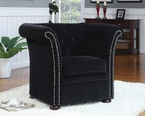 Coaster 902032 High-Back Chair with Round Wood Feet, Black