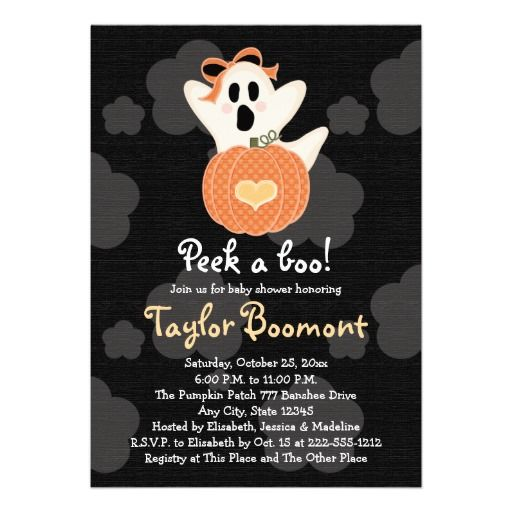 143 best halloween baby shower invitations images on pinterest peek a boo ghost baby shower invitations filmwisefo Image collections