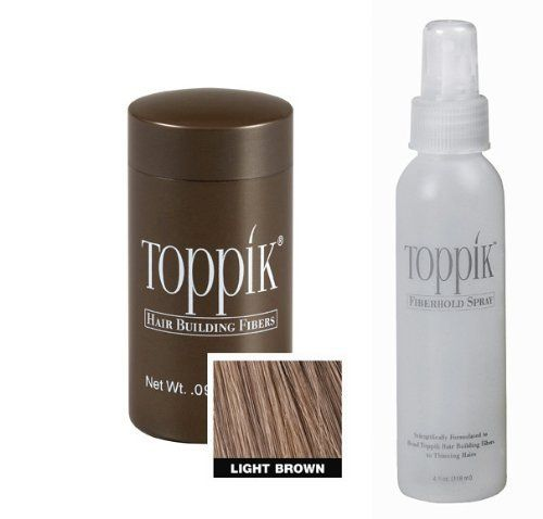 """Toppik All Natural Organic Keratin Protein Fibers Hair Thickening System Instantly Conceals Thinning Hair & Baldness! Travel .09 oz Container In """"Light Brown"""" + Fiber Hold Spray 118mL + A-Viva Nail Buffer by Toppik. $26.99. THICKER & FULLER HAIR IN SECONDS. AVAILABLE IN FOUR DIFFERENT SIZES TO FIT YOUR INDIVIDUAL NEEDS. ALL NATURAL. INDISTINGUISHABLE FROM NATURAL HAIR. COLOR-MATCHING (AVAILABLE IN 9 DIFFERENT SHADES!). WATER & WIND RESISTANT. FULLY COMPATIBLE TO USE ..."""
