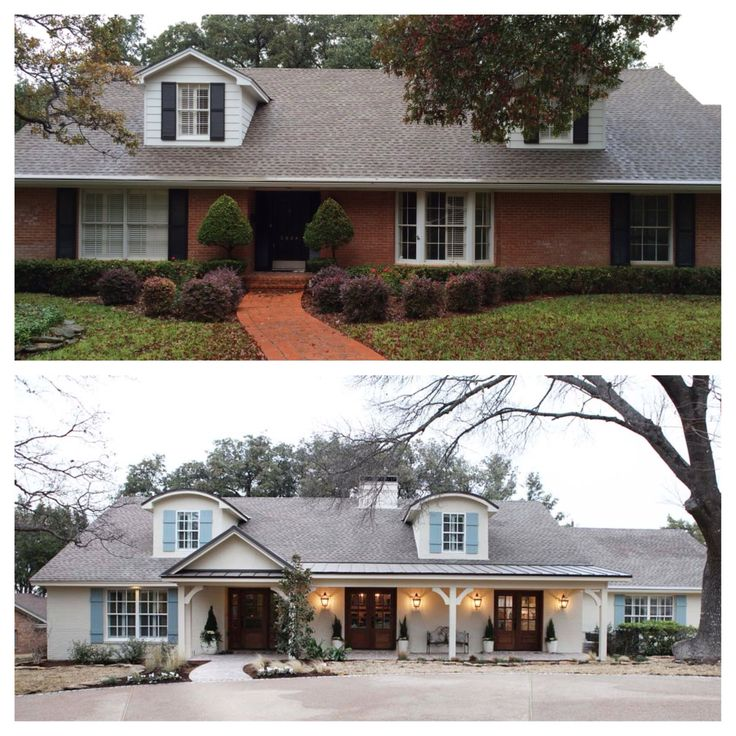 How to transform a tired red brick boring ranch home exterior. This is the same…