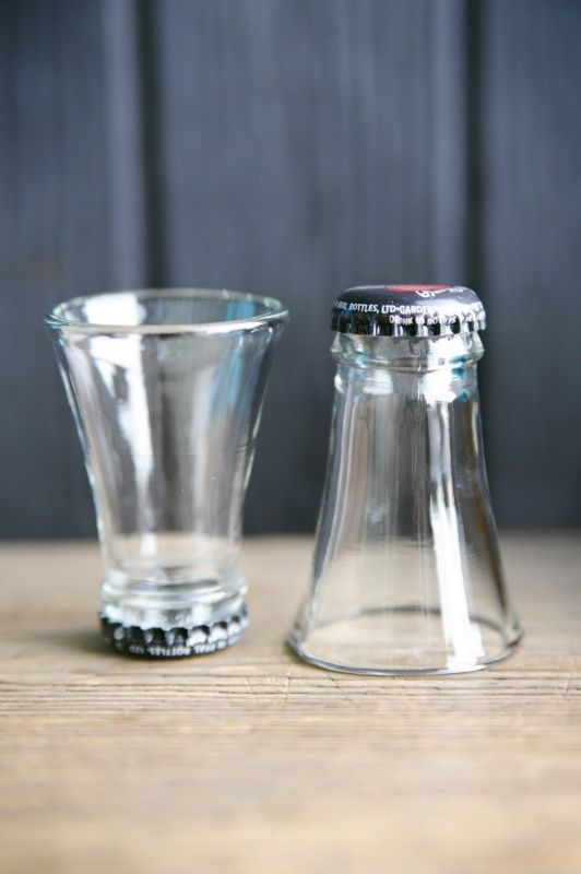 Shot glasses made from bottle necks... awesome...