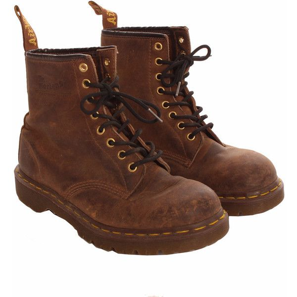 Vintage Brown Dr Martens Boots (145 BRL) ❤ liked on Polyvore featuring shoes, boots, vintage brown boots, vintage boots, dr martens boots, vintage footwear and vintage shoes