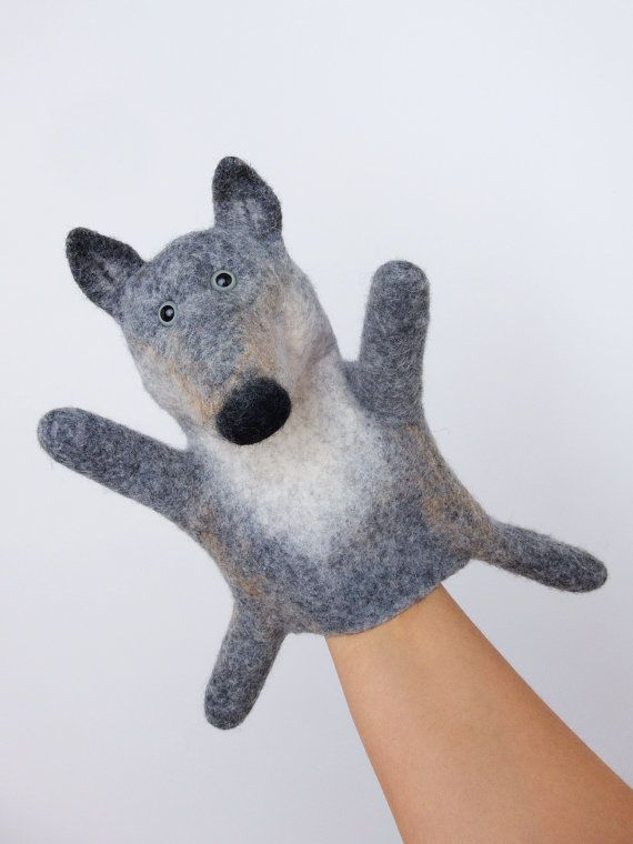 the grey wolf hand puppet, wet felted