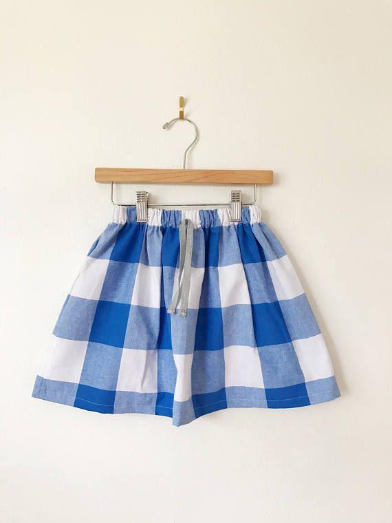652dc7adda Cotton skirt in blue and white check, toddler skirt, baby skirt, girls skirt,  gingham skirt