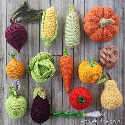 OlinoHobby: πλεκτό τα φρούτα και τα λαχανικά, τα τρόφιμα δεμένη στην τάξη. Πλέκω τα φρούτα και τα λαχανικά.