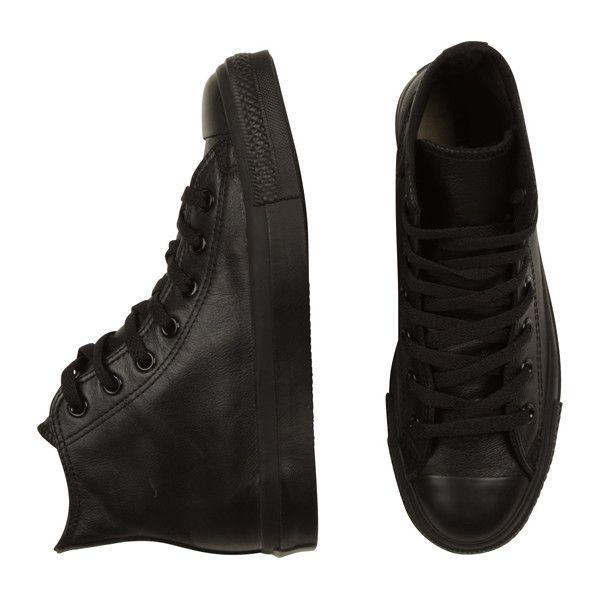 Converse Leather Hi Black Mono ❤ liked on Polyvore
