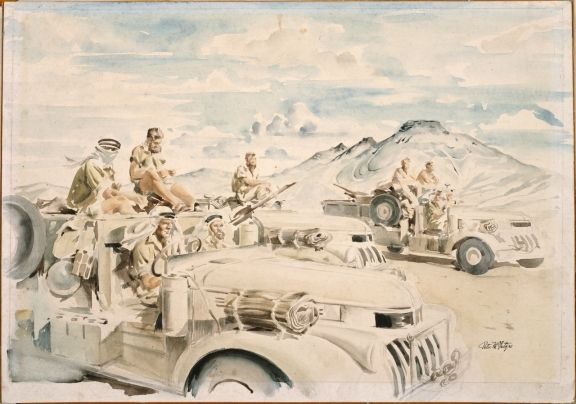 Peter McIntyre (1910-1995) - The Long Range Desert Group, the Patrol, 1943