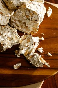 "Homemade Torrone (a traditional Christmas treat in Italy-""a sweet, toasted almond candy"")"