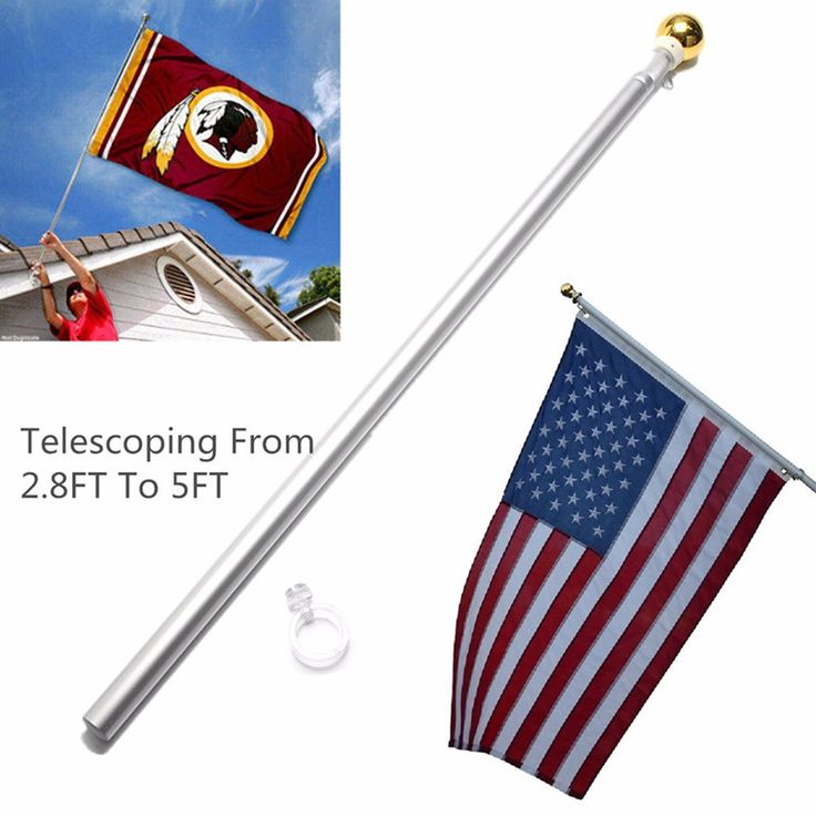 5Ft Telescoping 86cm-155cm Tall Hand Held Flag Pole High Intensity Aviation Aluminum Alloy Tall Telescoping Flagpole