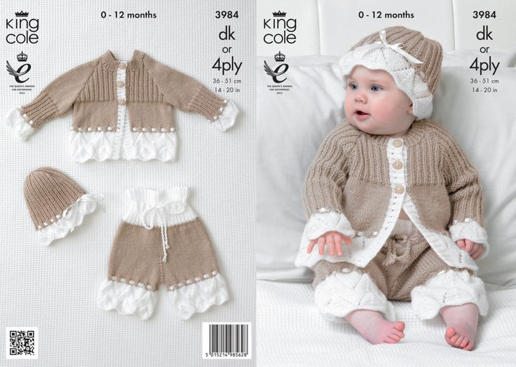 King Cole 3984 Knitting Pattern Baby Child  cardy bloomers and  hat  14-20 inched (36-51 cm) DK r 4ply  new by Bobbinswool on Etsy