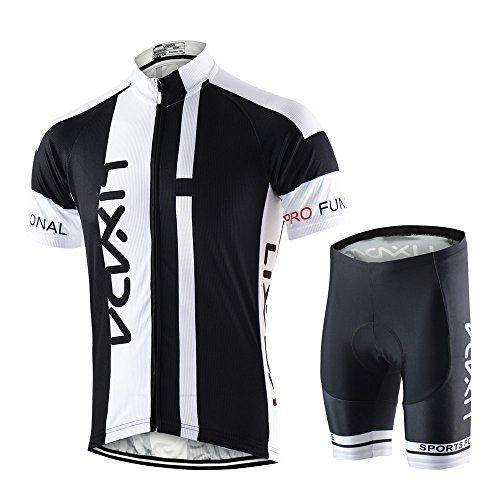 Lixada Breathable Quick Dry Lightweight Comfortable Men Short Sleeve Jersey   Padded Shorts Cycling Suit Clothing Set Riding Sportswear