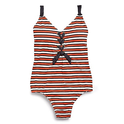 Anne Cole Signature Lace-Up X-Back One-Piece in Sailor Stripe,