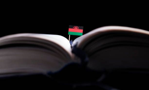 malawi flag in the middle of the book knowledge and education concept