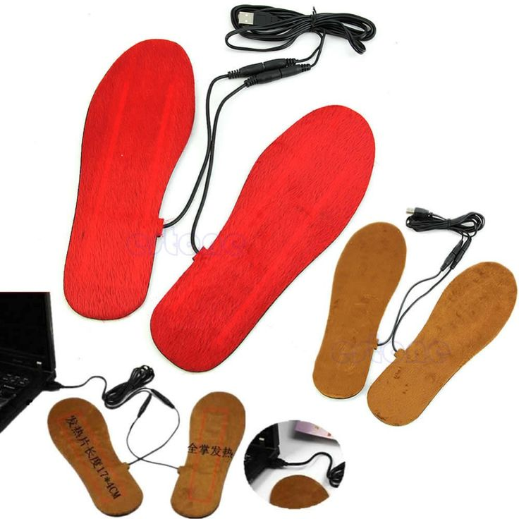 1 Pair USB Electric Powered Heated Insoles For Shoes Boots Keep Feet Warm New