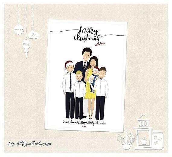 Custom Christmas Card Custom Family Portrait Christmas Scene