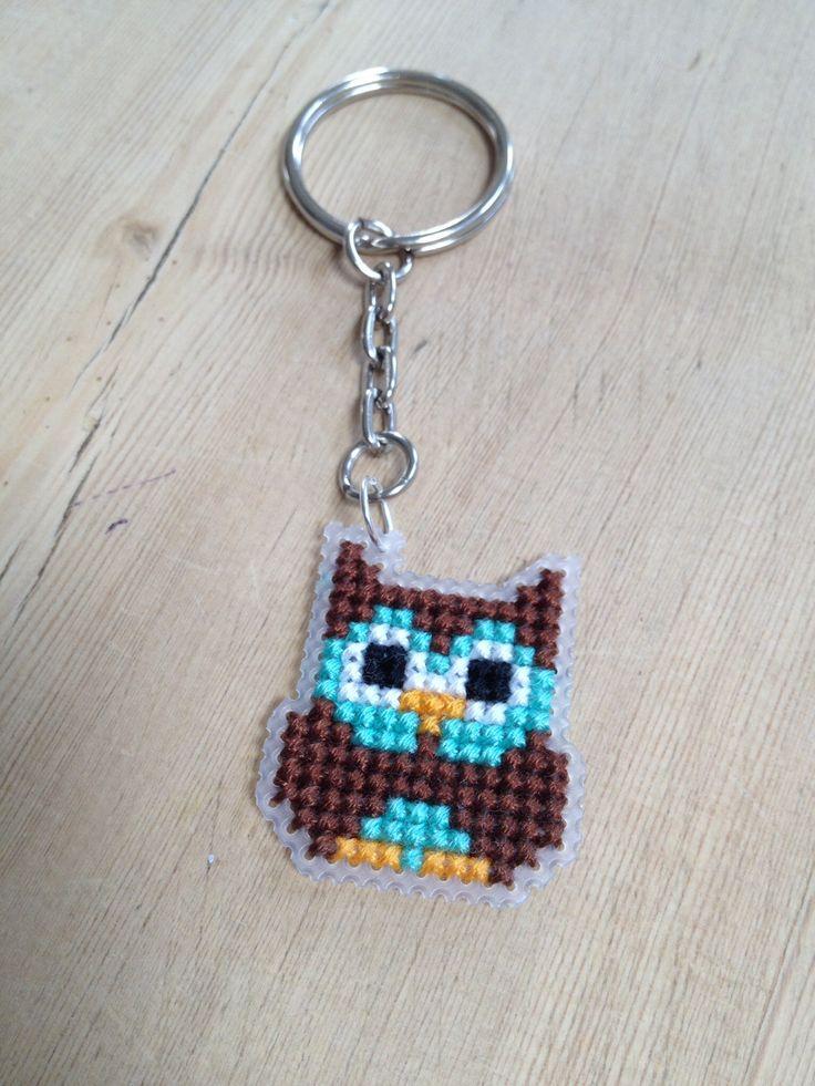 Cross stitch owl keyring