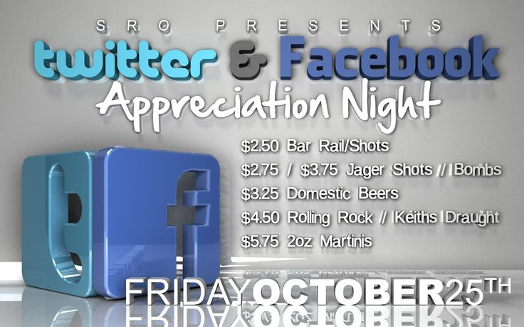 Fri. Oct. 25th  SRO Nation! We truly appreciate all the wonderful people who comment, interact and show us love on the web!!  Because of you we decided to give back and what better way than to throw a huge party with our signature CHEAPEST DRINKS IN TOWN menu!!!?  https://www.facebook.com/events/1416871158529695/