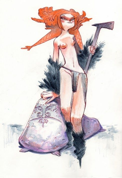 Enrique Fernández: GIRLS Original Artwork (watercolor, pencil, pen and ink)