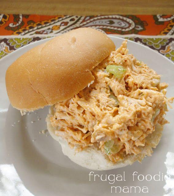 Ranch Buffalo Chicken Salad- a spicy twist on a classic chicken salad, recipe via thefrugalfoodiemama.com
