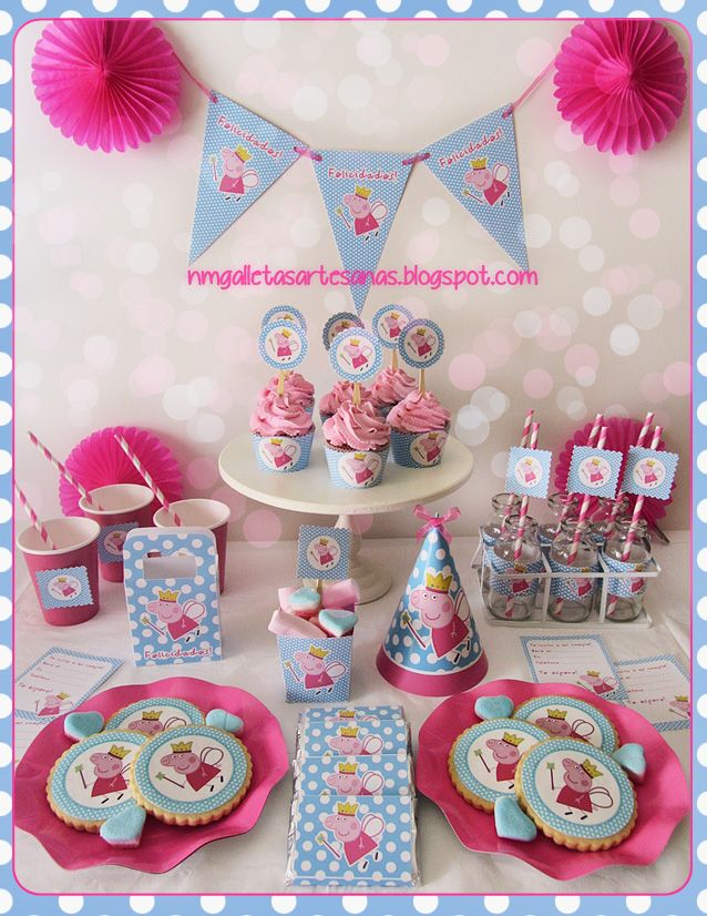 A Peppa Pig party http://nmgalletasartesanas.blogspot.com.es/2013/06/kit-de-fiesta-peppa-pig-descarga.html