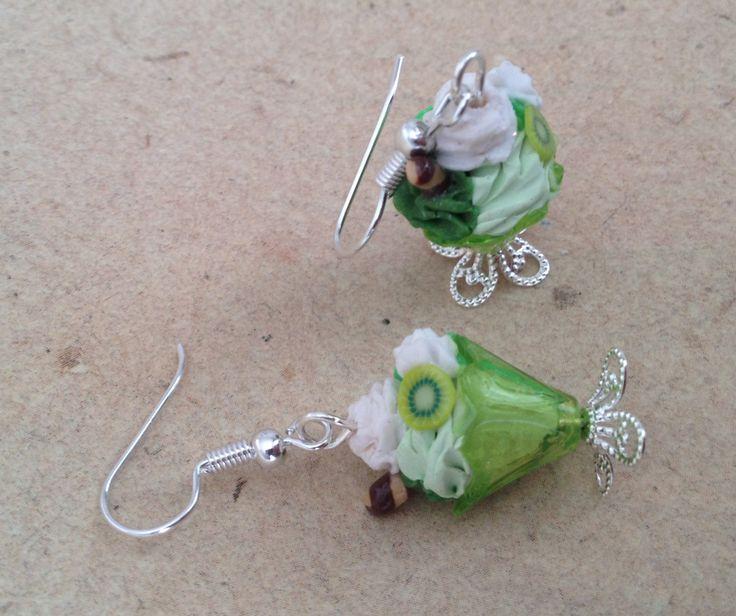 """Ohrringe Eisbecher grün mit Keks und Sahne """"Kiwi"""" von PfullingerEngele auf Etsy"""