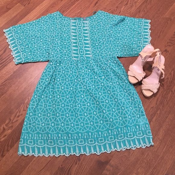 Plenty by Tracy Reese Dress Flutter sleeves, embroidered green dress.  Perfect for spring. Plenty by Tracy Reese Dresses Midi