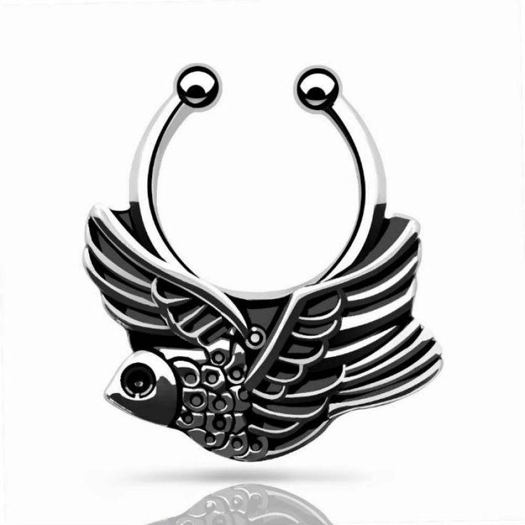 Piercing de nariz falso. Septum falso. Se sujeta a presión. pájaro volando, sin perforación. Tono plateado ¿Cómo te quedaría un piercing sin hacértelo?