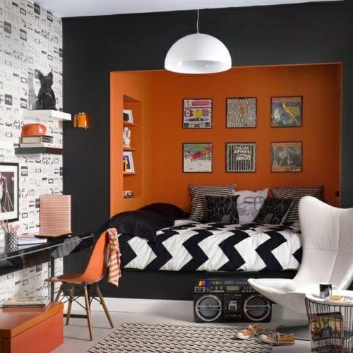 Farbgestaltung fürs Jugendzimmer – 100 Deko- und Einrichtungsideen - orange schwarz lampe  muster jugendzimmer bettdecke chavron