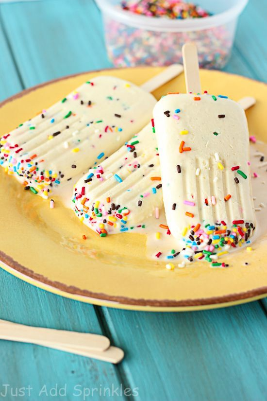 Cake Batter Popsicles | A delicious and easy recipe thanks to Just Add Sprinkles