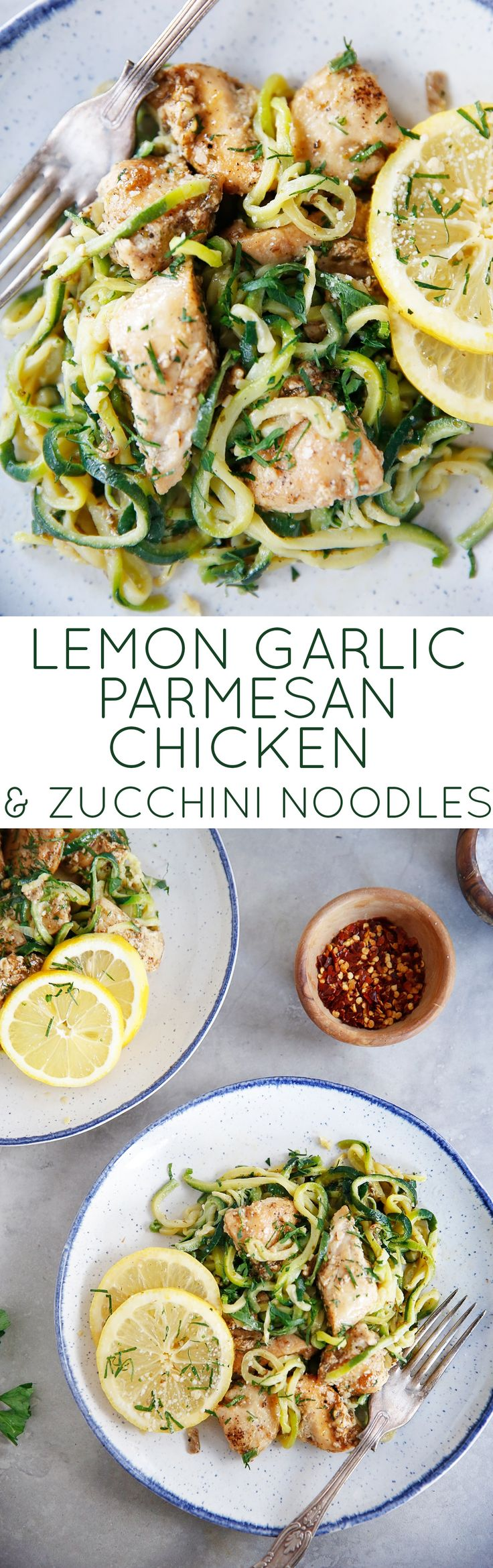 Lemon Parmesan Chicken with Zucchini Noodles - Lexi's Clean Kitchen #lemon #parmesan #chicken #paleo #zucchini #healthy #lowcarb