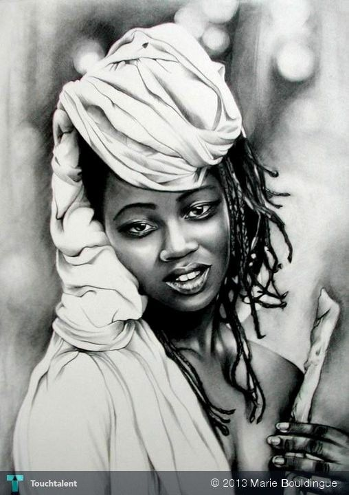 black woman - Sketching by Marie Bouldingue in My Scrapbook at touchtalent