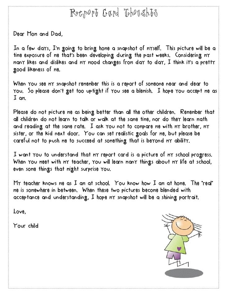 love this report card letter reminding parents to not