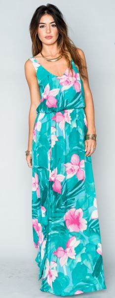 Hawaiian print maxi dresses