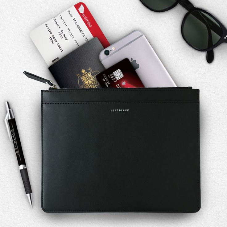 Jett Black Large Leather Pouch - Perfect Travel & Everyday Accessory
