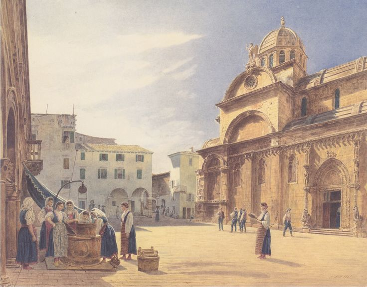 """Piazza Grande and the Cathedral, Sebenico"", 1841, Jakob Alt"