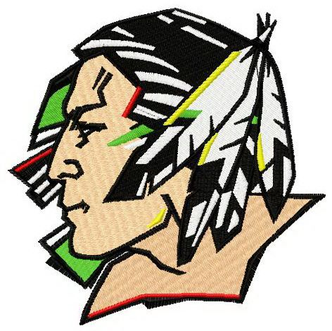 Fighting Sioux logo machine embroidery design
