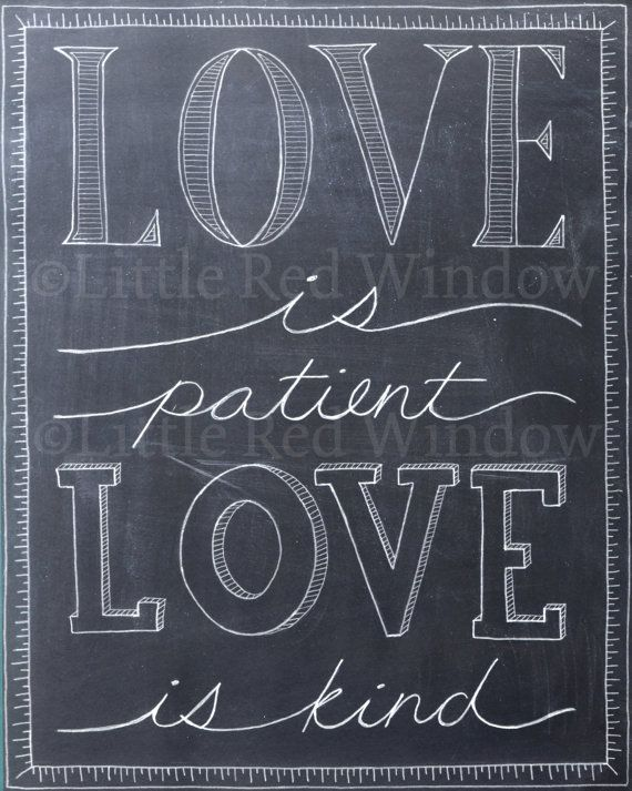 First Corinthians Love is Patient Chalkboard Typography Printable Print -- 8  x 10 -- INSTANT DOWNLOAD -- Wedding Art Print, $10  #printable #instantdownload