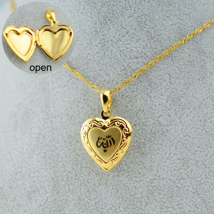 Heart Allah Necklace Pendant for Women Muslim  Necklaces Jewelry For Men,- Gold Plated Islam Chain Necklaces Prophet Muhammad